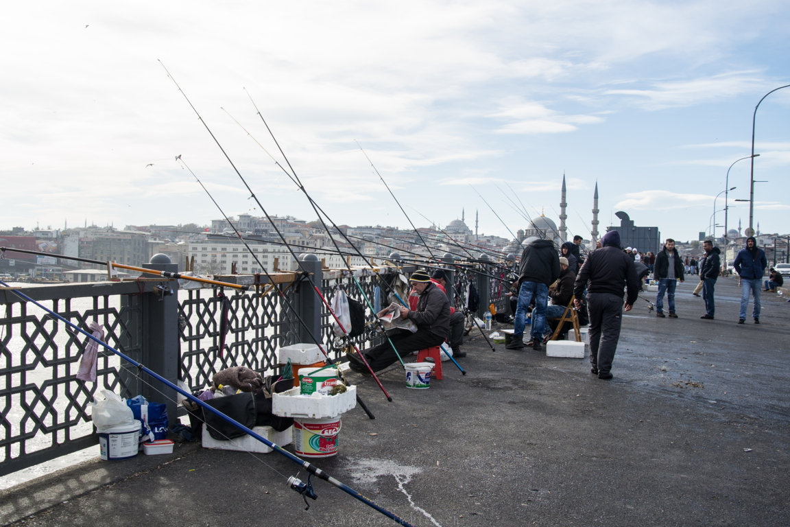 Fischer auf der Galatabrücke in Istanbul, Türkei