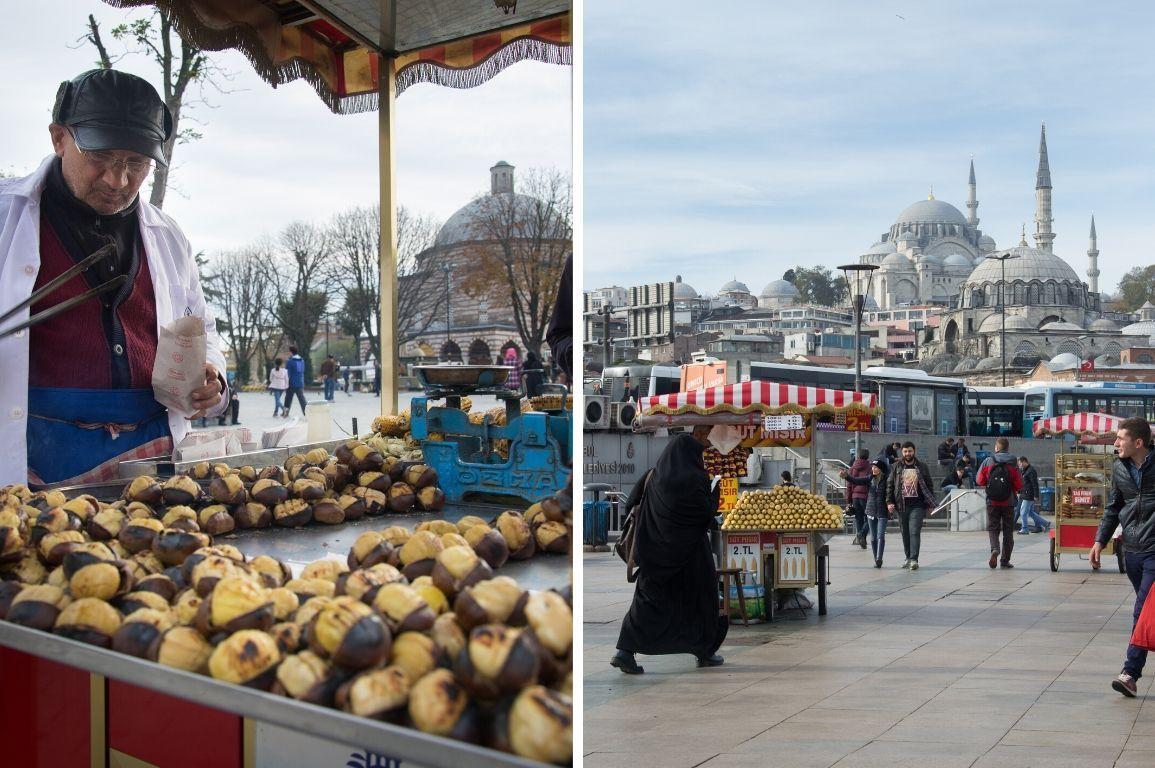 Maronenverkäufer und Moschee in Istanbul, Türkei