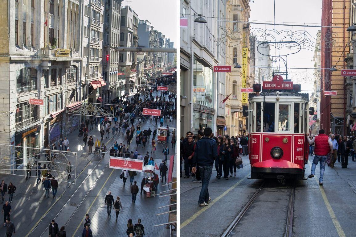 Bimmelbahn und Einkaufsstraße in Istanbul, Türkei