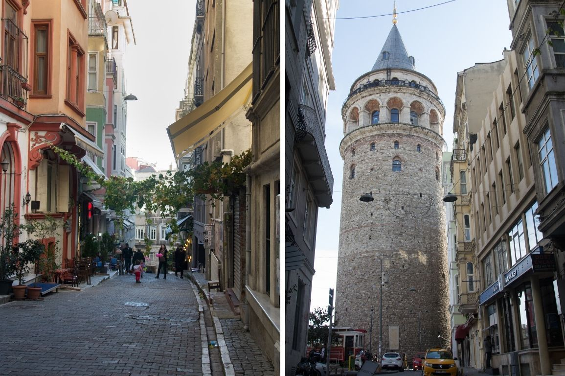 Galataturm und Seitengasse in Istanbul, Türkei