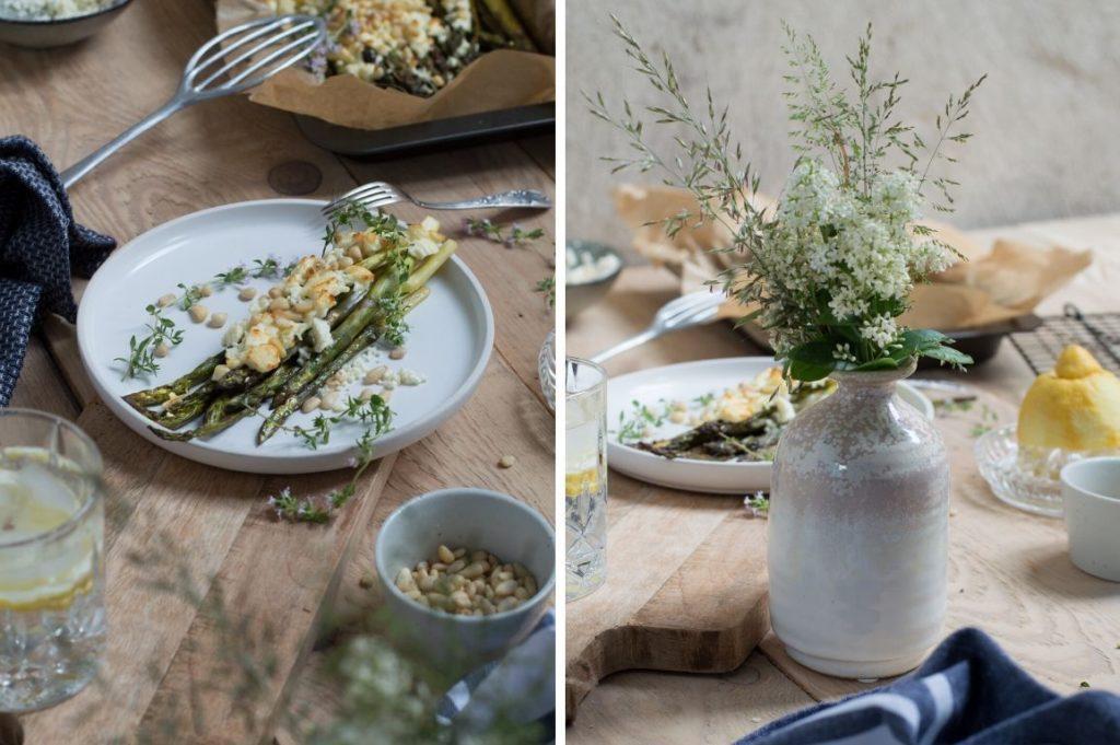 Grüner Spargel mit Hirtenkäse und Pinienkernen