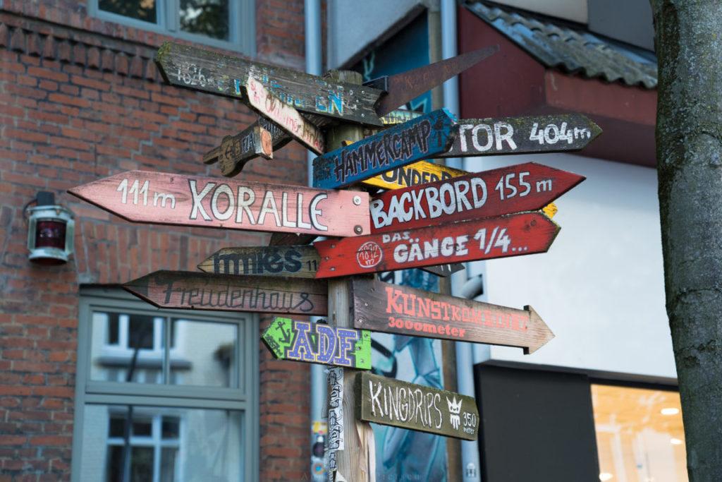 Wegweiser in St. Pauli
