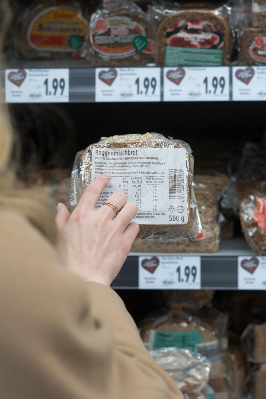 Zutatenliste von Brot - glutenhaltig