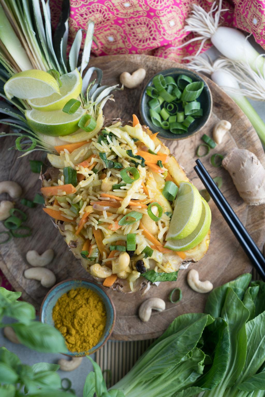 Gebratener Reis mir Gemüse und Ananas