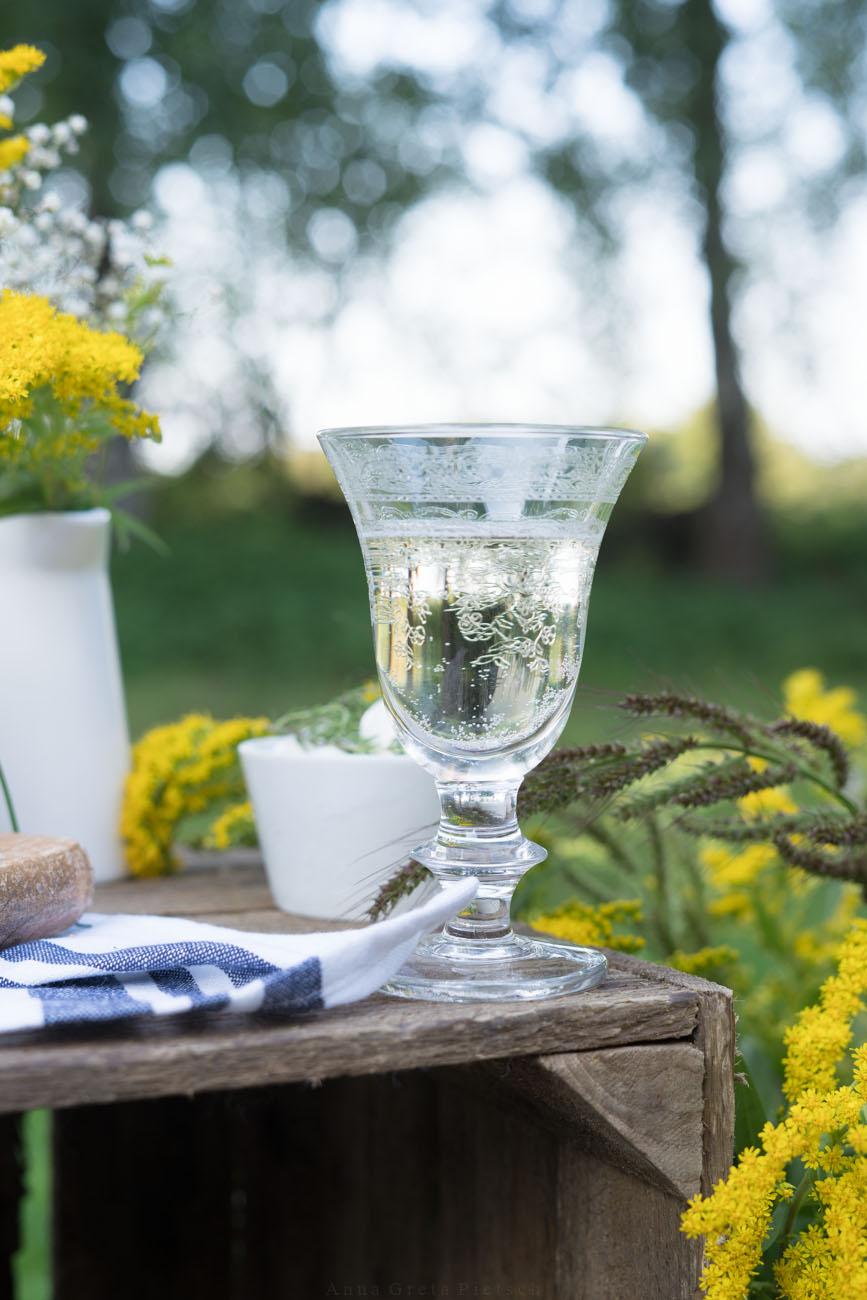 Weißweinglas beim Picknick