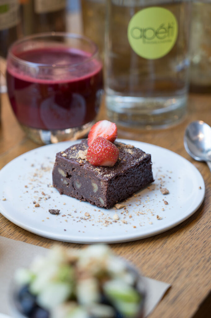 Apeti Paris, glutenfreier veganer Brownie