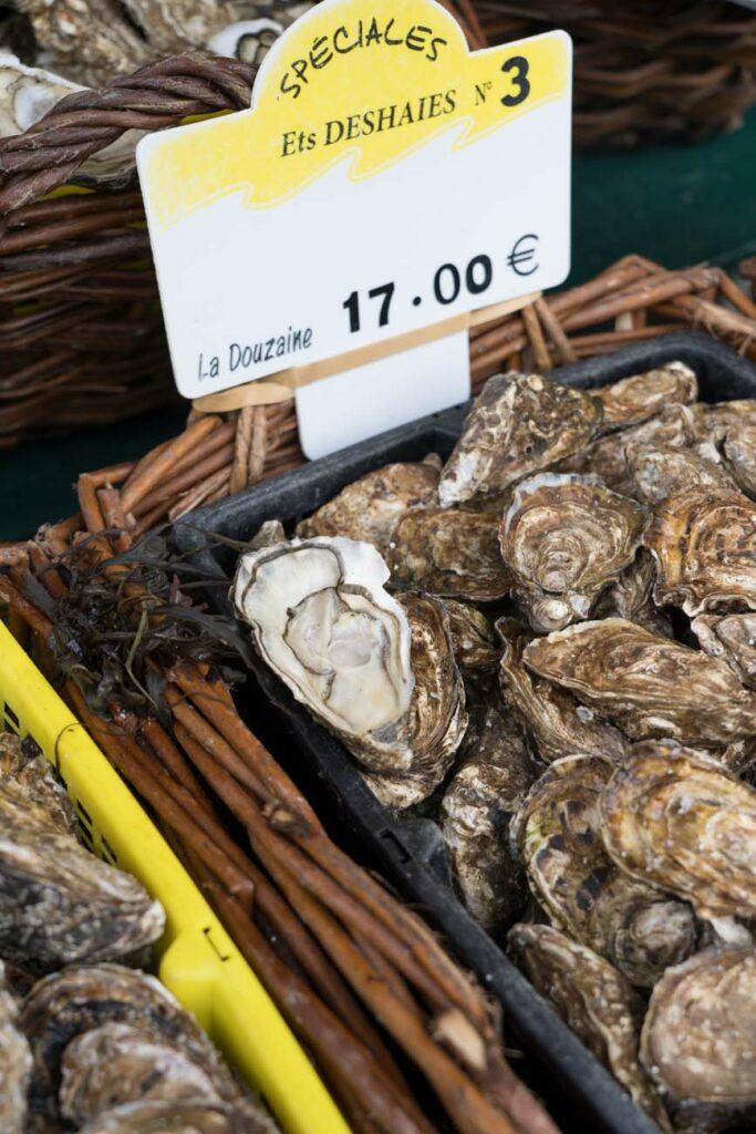 frische Austern auf Wochenmarkt, Paris