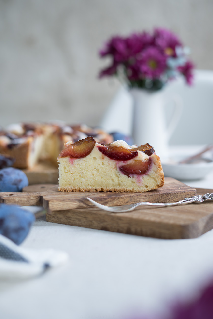 glutenfreier Zwetschgenkuchen Kuchenstück