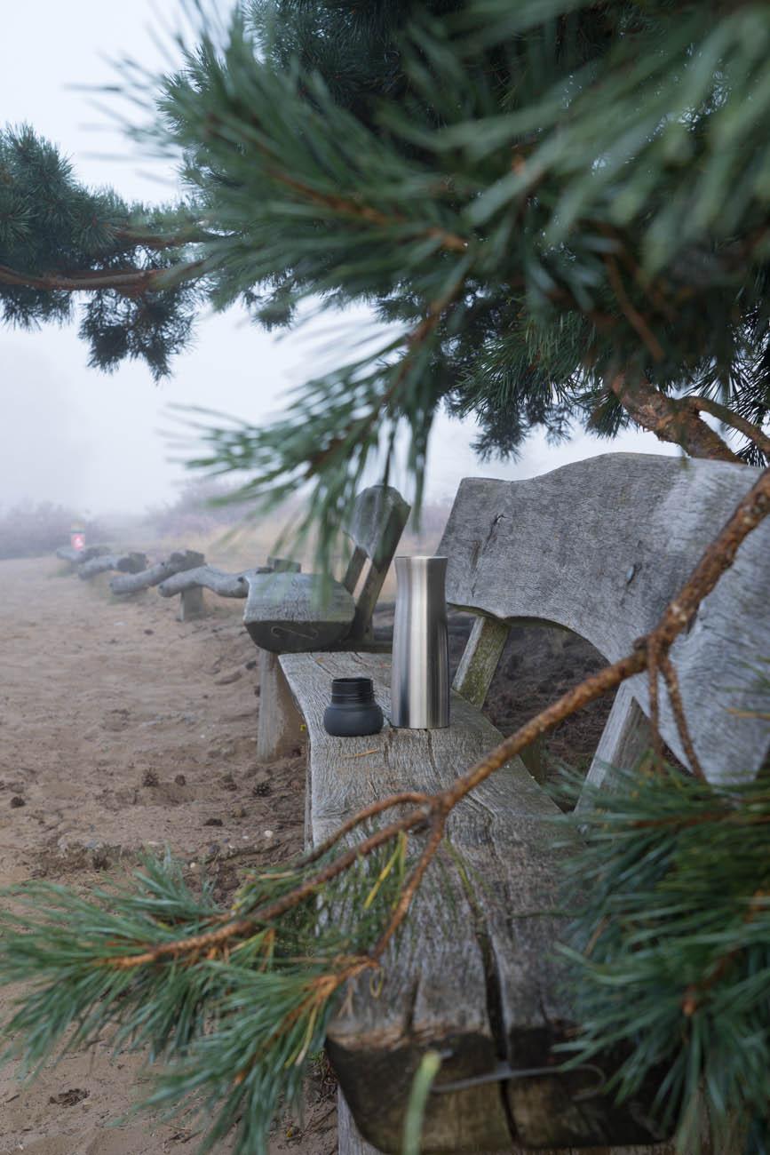 Thermoskanne in Heidelandschaft, Westruper Heide