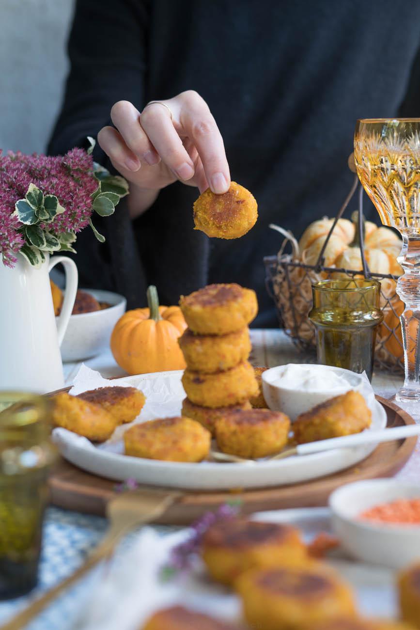 Kürbis-Linsen-Bällchen, glutenfrei und vegan