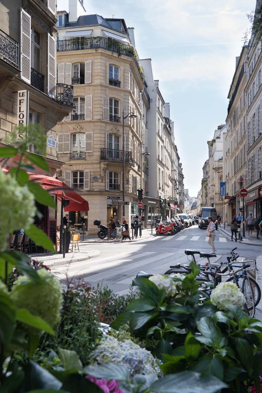 Seitenstraße in Paris mit Blumengeschäft