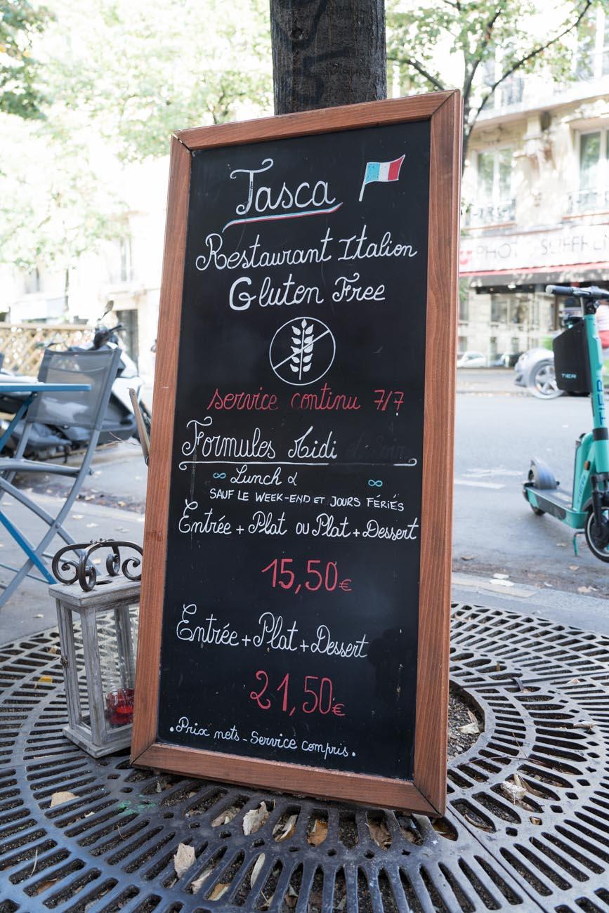 Tagesmenü Tasca glutenfrei, Paris