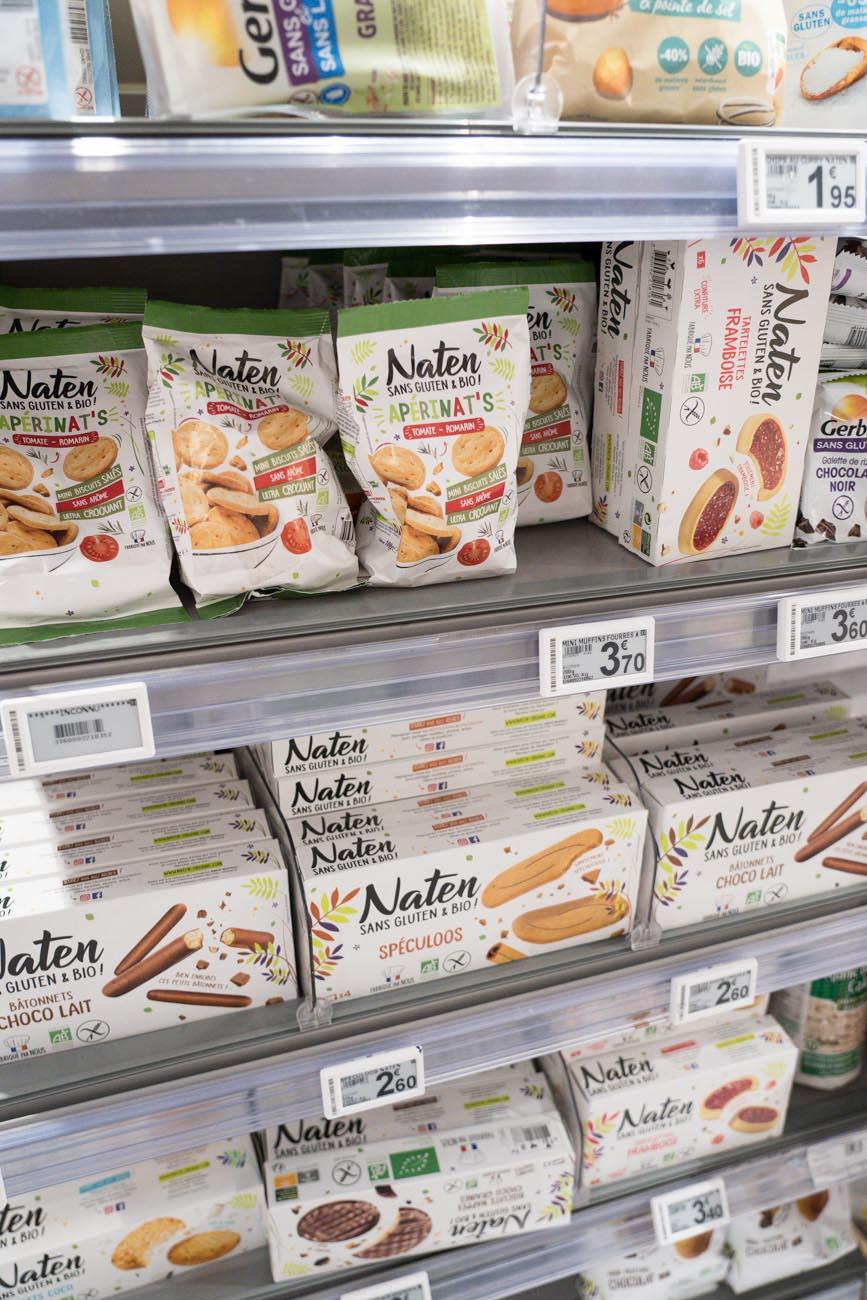 glutenfreie Auswahl, Franprix Supermarkt, Paris